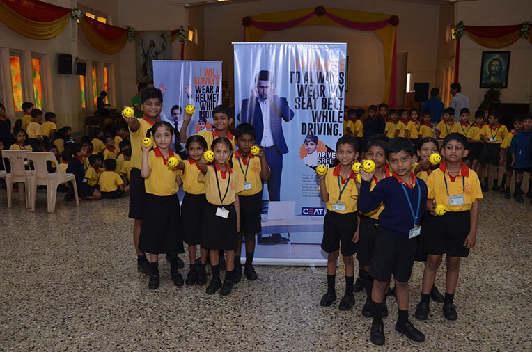 Kids from St. Alyosius High School at CEAT 'Drive Safe Dad' campaign 2