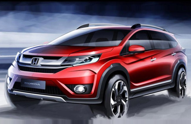 Photos of upcoming 7 seater honda br v suv revealed gaadikey for Honda 7 seater suv