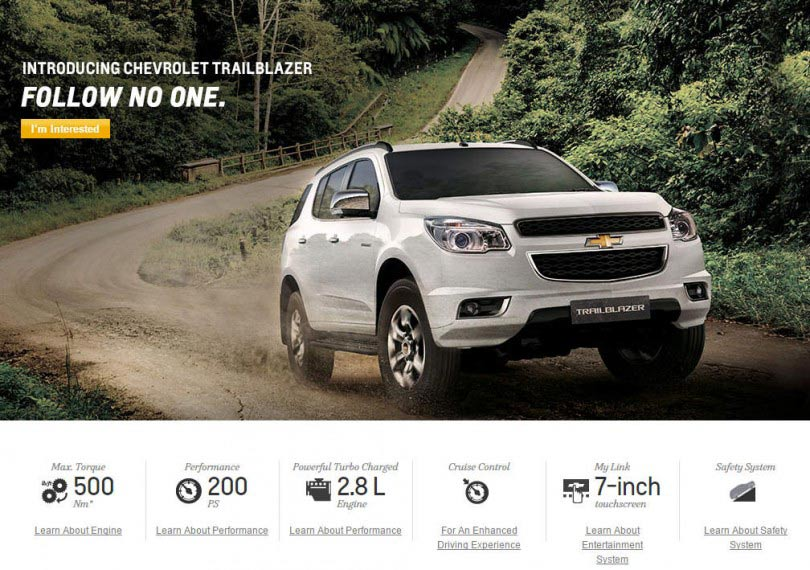 Chevrolet Trailblazer SUV launch in India