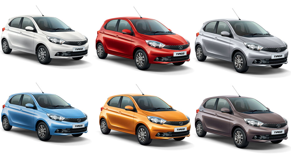 Tata Tiago Colors Red Orange Brown Silver Blue White