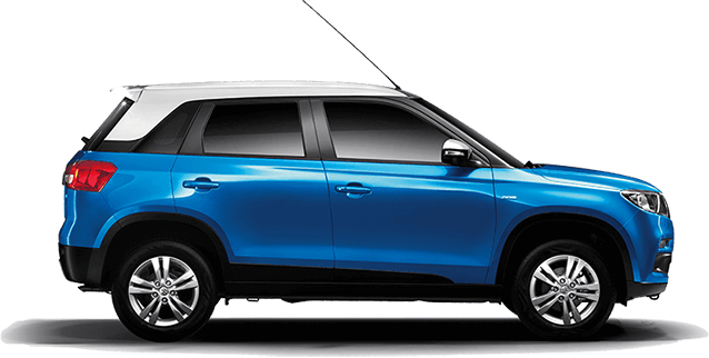 Maruti Vitara Brezza in Blue and White Dual tone colors