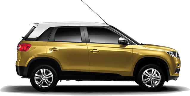 Vitara Brezza Yellow and White Dual tone color.