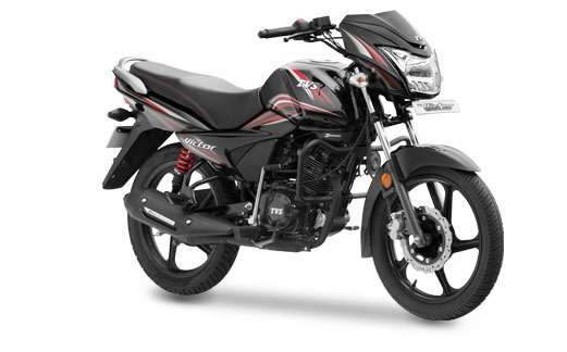 New TVS Victor in Balanced Black Red