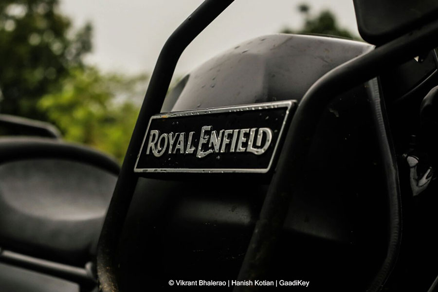 Royal Enfield logo on Himalayan motorbike