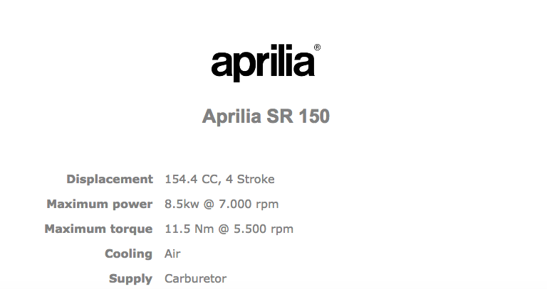 Aprilia SR 150 Official specifications