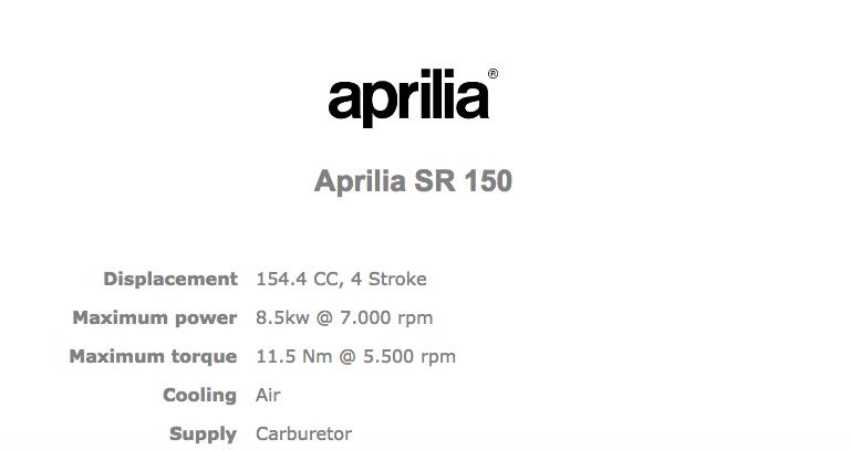 Aprilia SR 150 Official specifications