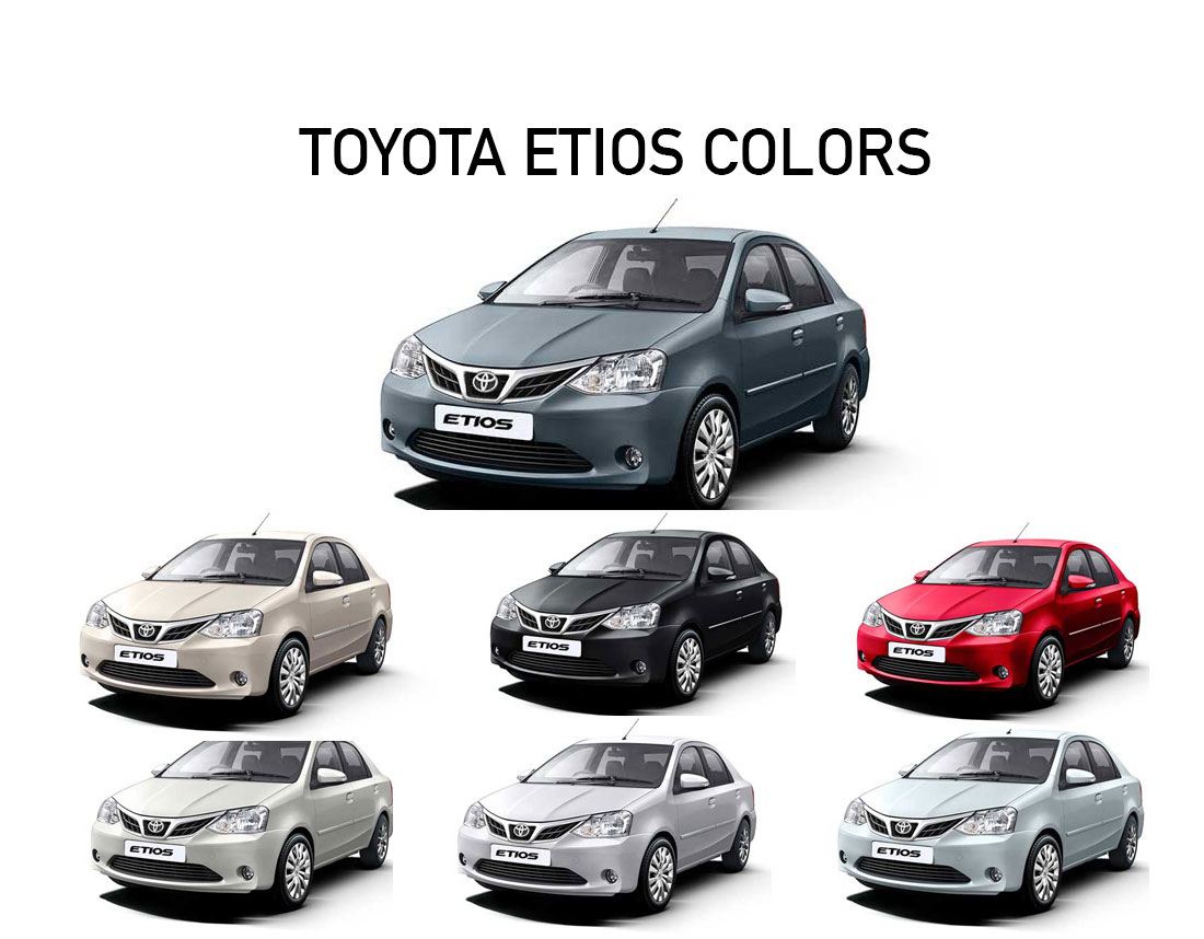 Toyota Etios Colors White Red Grey Silver Black
