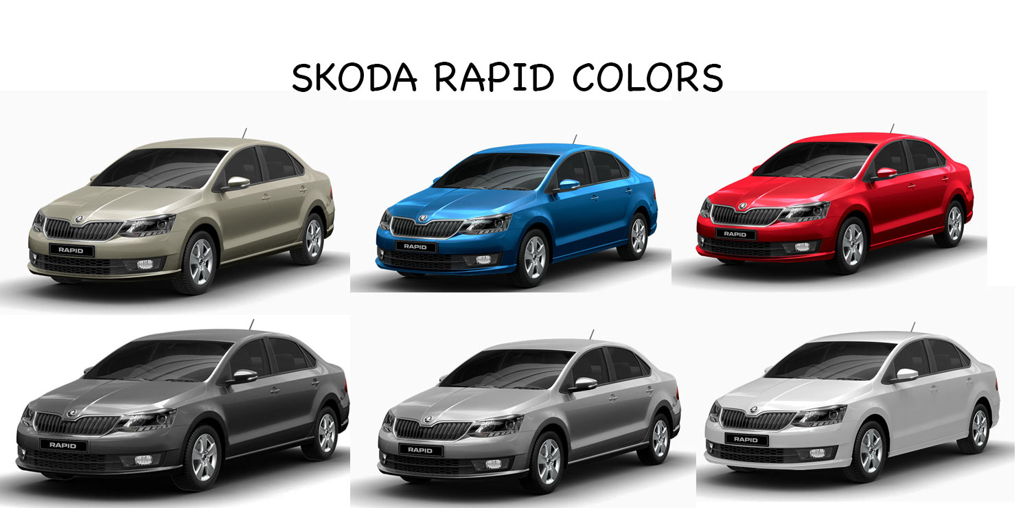 Skoda Rapid Colors White Beige Blue Red Silver Steel