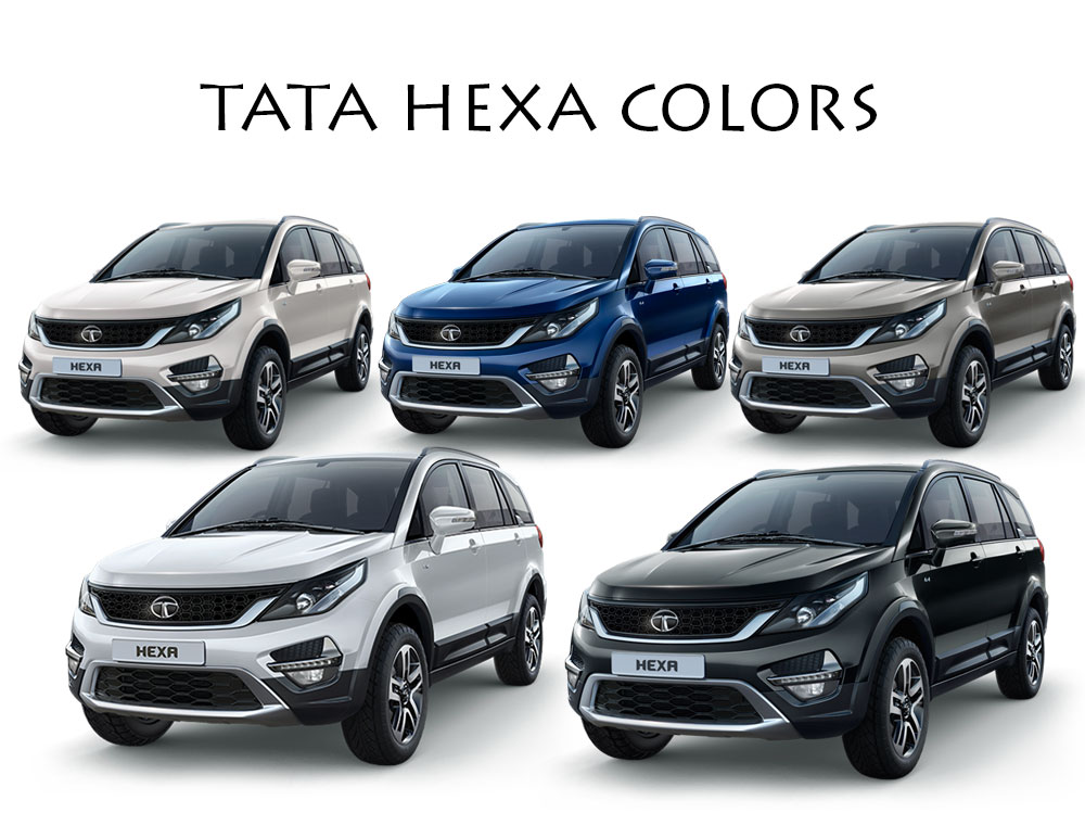 Tata Hexa Colors Blue Grey White Platinum Silver
