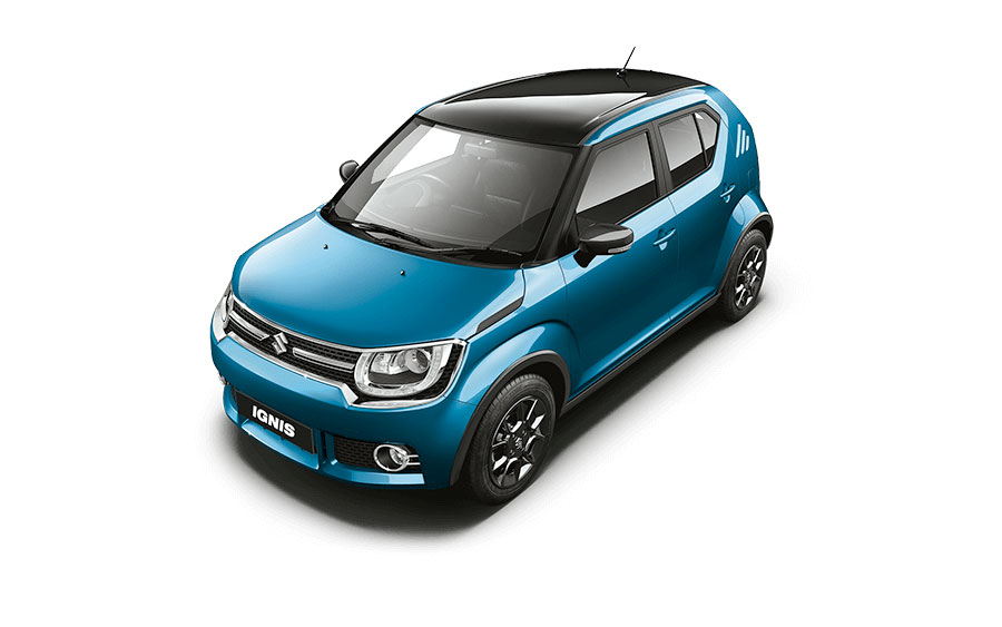 Maruti Ignis Dual Tone Colors - Tinsel Blue and Midnight Black Color