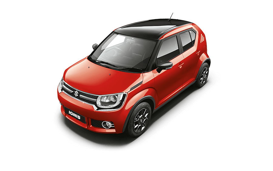 Maruti Ignis Dual Tone Colors - Uptown Red and Midnight Black color