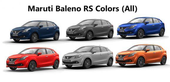 Maruti Baleno RS Colors: Blue, Orange, Red, Grey, Silver & Urban Blue