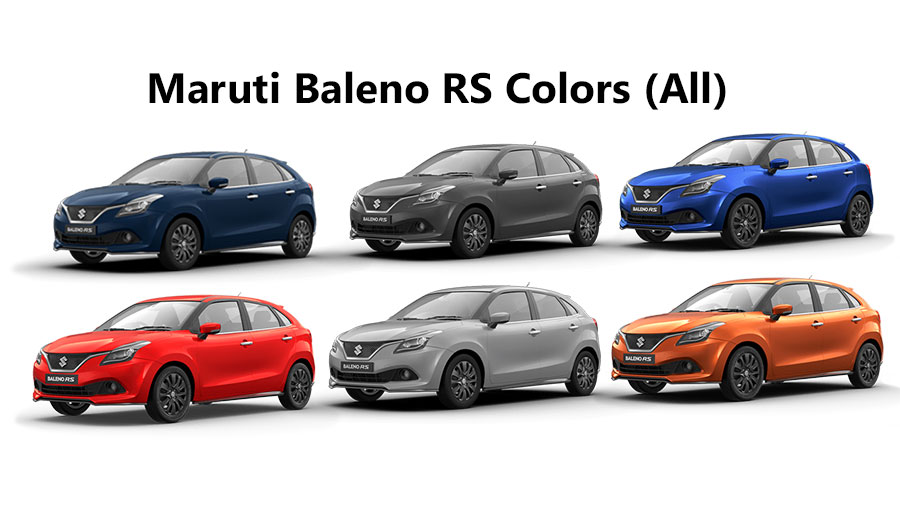 Maruti Baleno Rs Colors Blue Orange Red Grey Silver