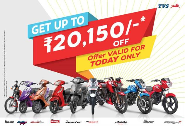 Offers and Discounts on TVS bikes which are BS3