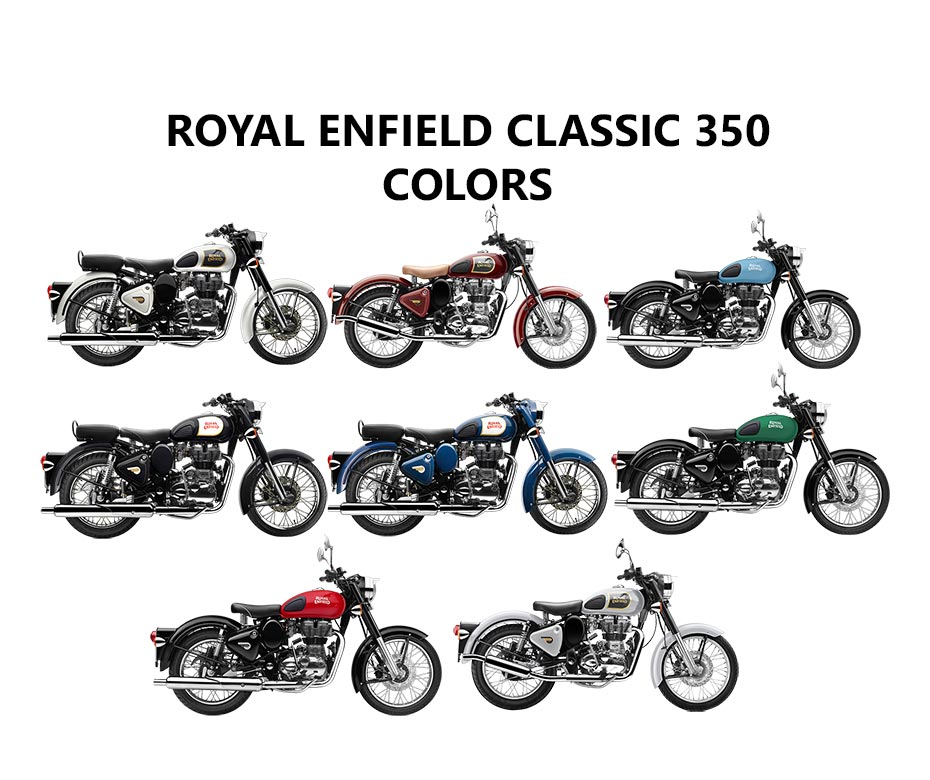 Royal Enfield Classic 350 Colors Black Lagoon Blue Chestnut Red