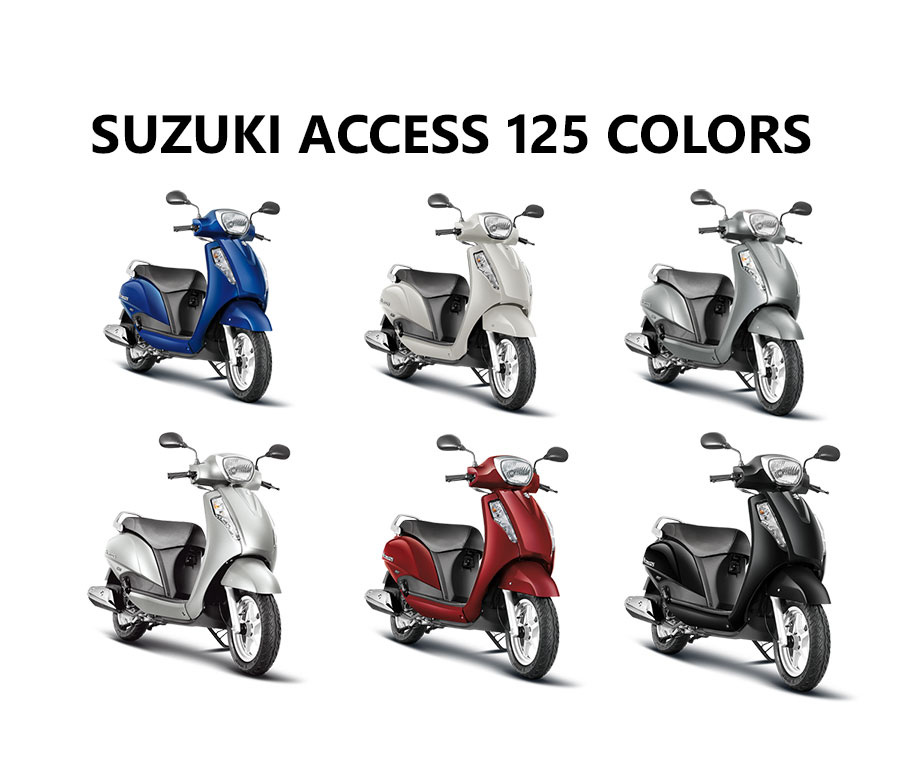 Suzuki Access 125 Colors White Red Gray Blue Silver