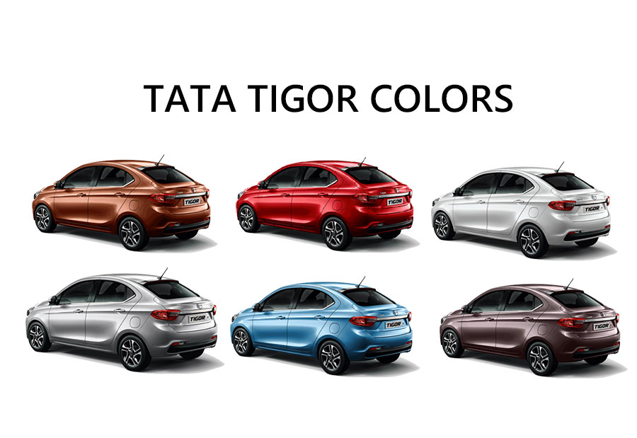 Tata Tigor Colors Copper Brown White Silver Red Blue