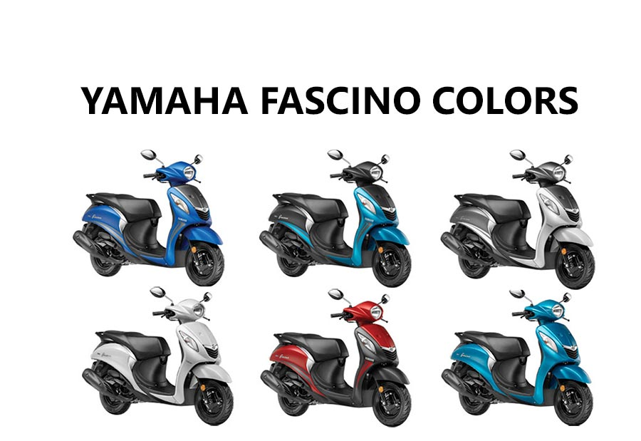 Yamaha Fascino Colors: Blue, Red, Cyan, White - GaadiKey