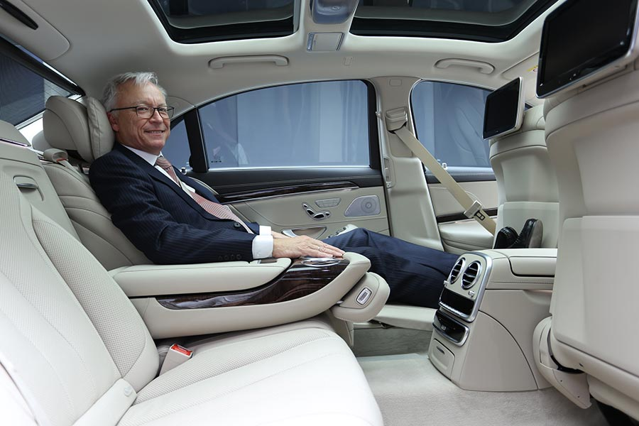 Mercedes-Benz-1-Mr.-Roland-Folger,-MD-and-CEO,-Mercedes-Benz-India-sitting-inside-the-luxurious-S-Class-'Connoisseur's-Edition'