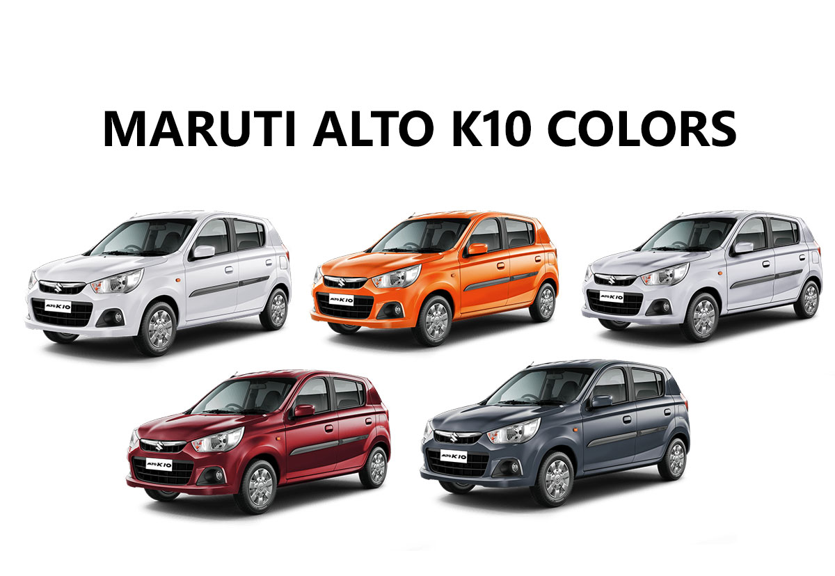 Maruti Alto K10 Colors Silver Red White Orange Grey