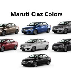Maruti Ciaz Colors: White, Red, Grey, Silver, Brown, Blue, Black