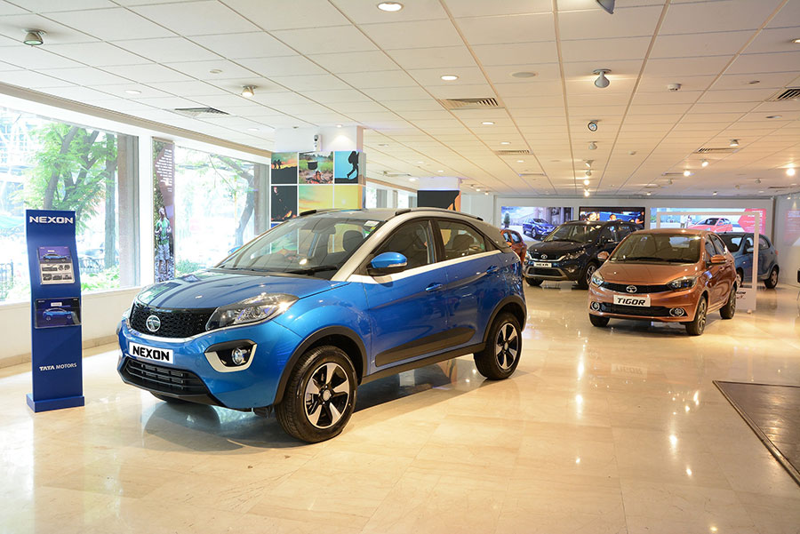 Nexon parked in Tata Motors' Dealership