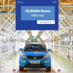 Tata Motors rolls out its 10,000th Nexon from the Ranjangaon facility