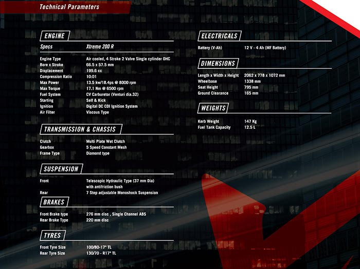 Hero Xtreme 200R Brochure Specifications Details