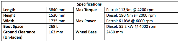 2018 New Maruti Specifications