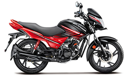 2018 Hero Glamour Black with Red Color (Black with Sports Red)