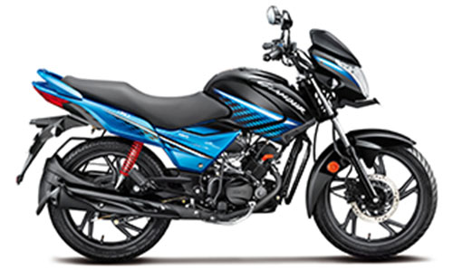 2018 Hero Glamour Blue Color (Black with Techno Blue)