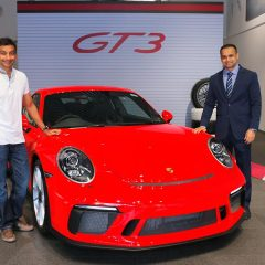 Narain Karthikeyan's 911 GT3 arrives at Porsche Centre Mumbai
