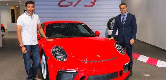 Narain Karthikeyan's 911 GT3 arrives at Porsche Centre Mumbai