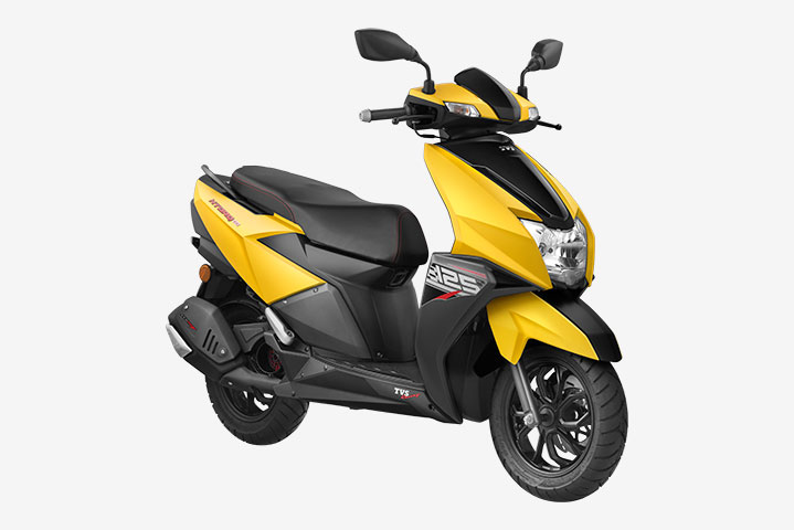 TVS NTORQ Yellow color, TVS NTORQ Matte Yellow Color, TVS NTORQ Matte Yellow Color