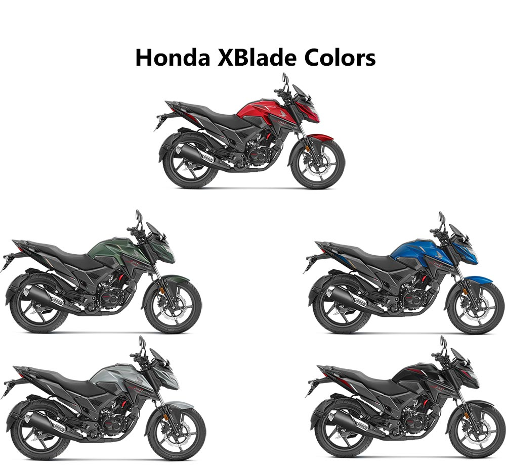 honda xblade colors  red  black  silver  blue  marshal