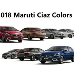 2018 Maruti Ciaz Colors: Red, Brown, Silver, White, Blue, Black, Gray