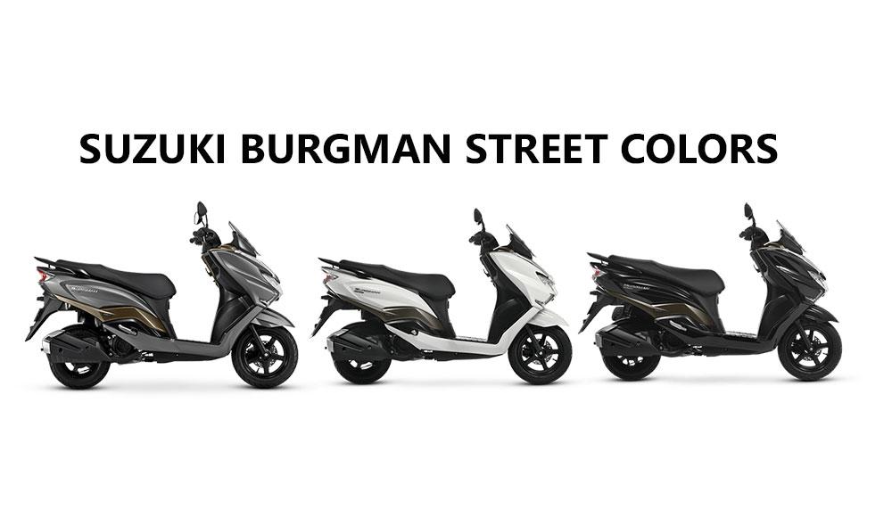 suzuki burgman street colors  white  gray and black