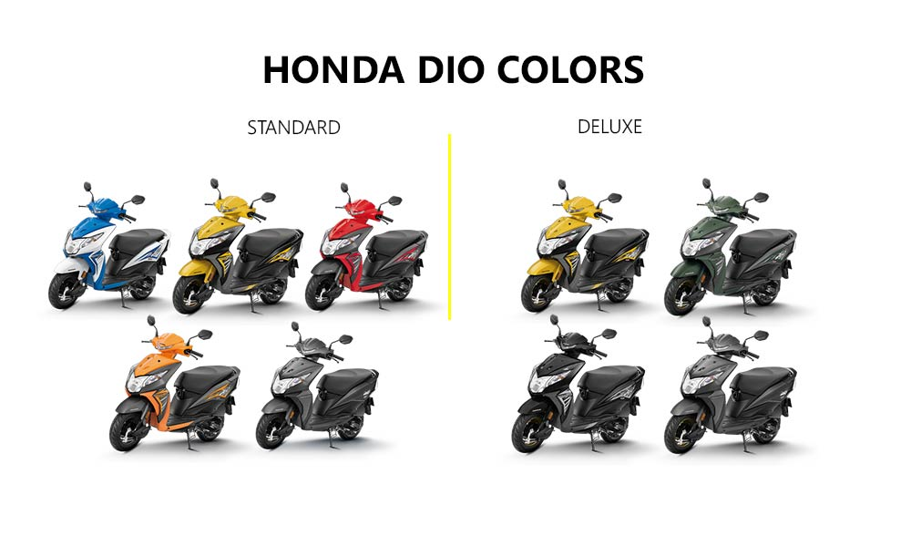 2019 Honda Dio Colors: Red, Yellow, Blue, Orange, Grey