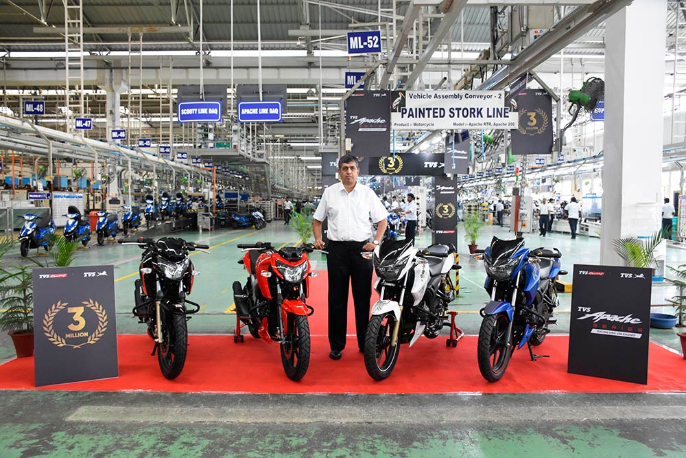 TVS Apache 3 million units sales milestone