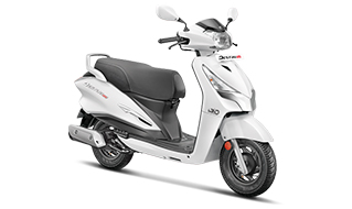 Hero Destini 125 White Color option - Hero Destini 125 Pearl Silver White