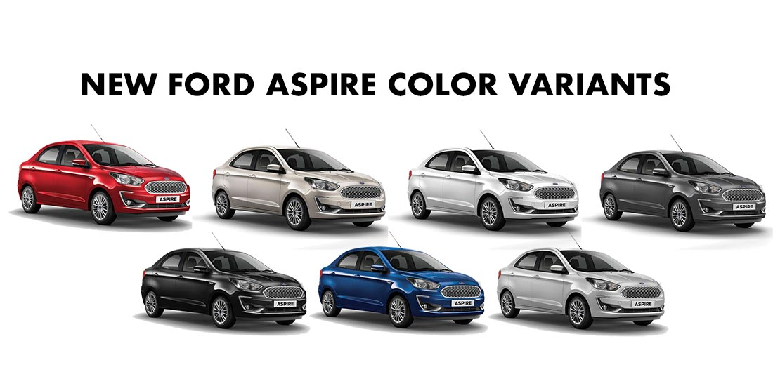 2018 Ford Aspire Colors Gold White Silver Red Blue Grey Black