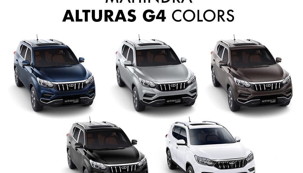 Mahindra Alturas G4 Colors White Silver Brown Blue Black Gaadikey