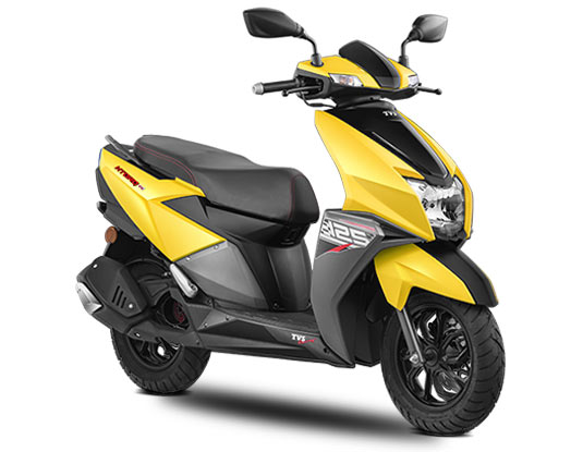 2019 TVS NTORQ Matte Yellow Color - 2019 TVS NTORQ Yellow Color