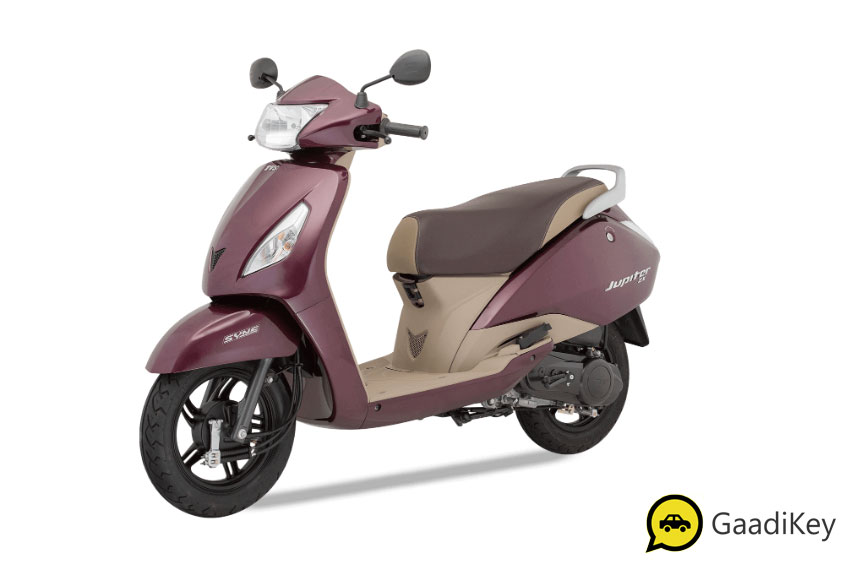 2019 TVS Jupiter Royal Wine Color - 2019 TVS Jupiter Wine Color - 2019 model Jupiter Purple Color