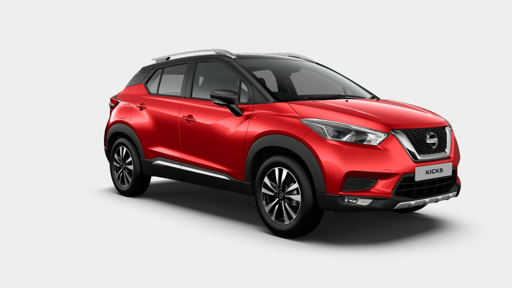Nissan Kicks Fire Red with Black Dual tone color