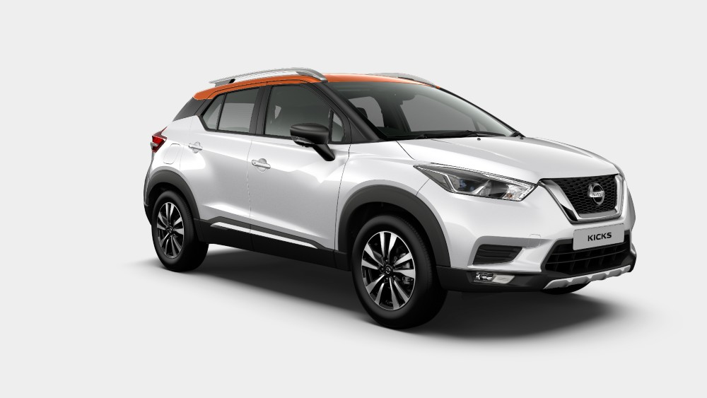 Nissan Kicks Pearl White and Amber Orange Dual tone color