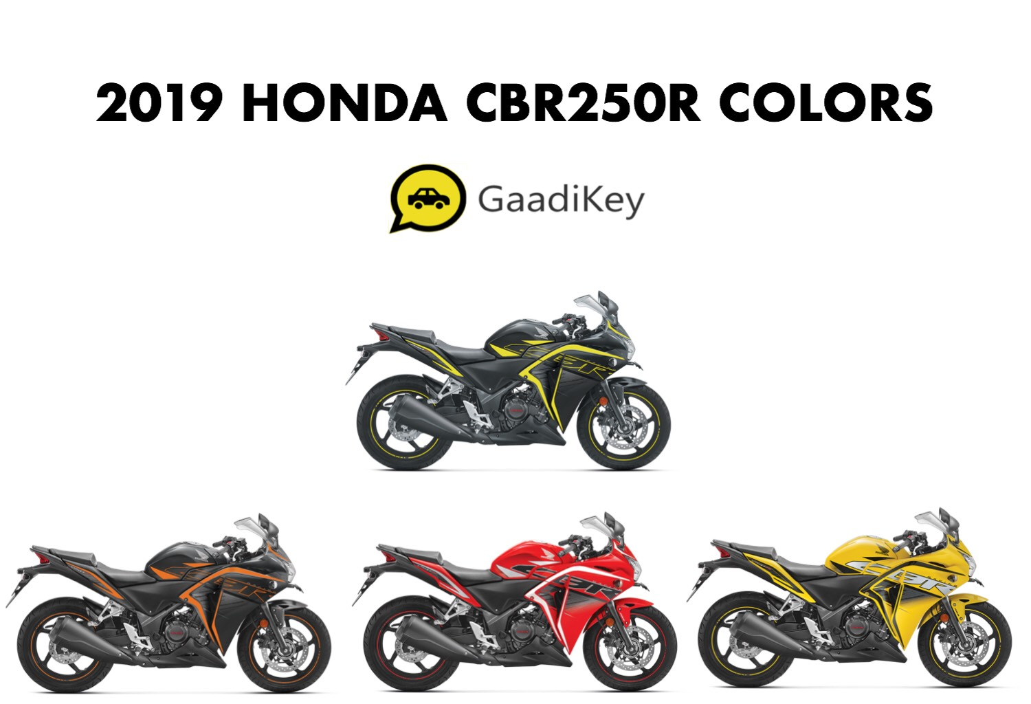 2019 Honda Cbr250r Colors Yellow Red Orange Green Gaadikey