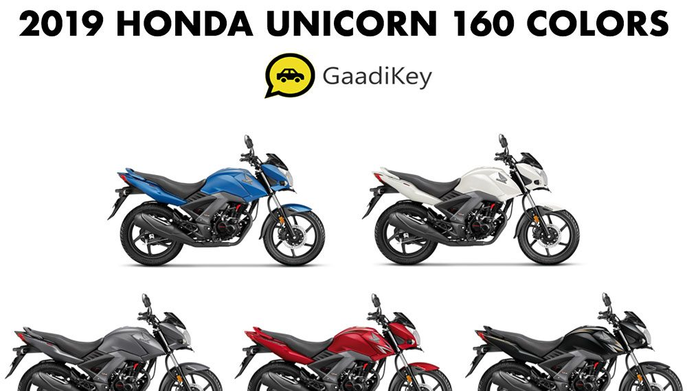 2019 honda unicorn 160 colors- black  red  white  grey  blue