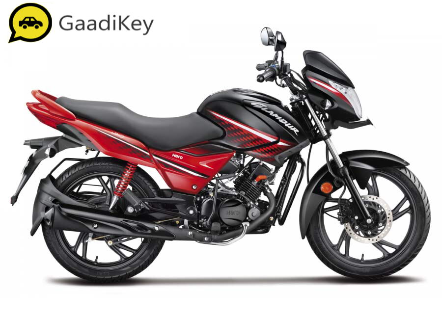 2019 Hero Glamour in Black with Sports Red Color