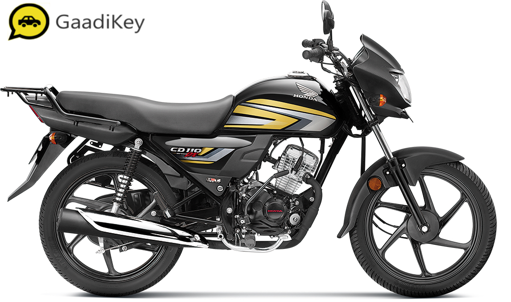 2019 Honda CD110 Dream DXin Black with Cabin Gold color.